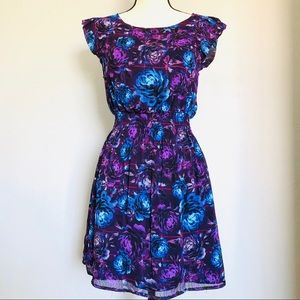 FOREVER 21 FLORAL DRESS PURPLE & BLUE SIZE SMALL